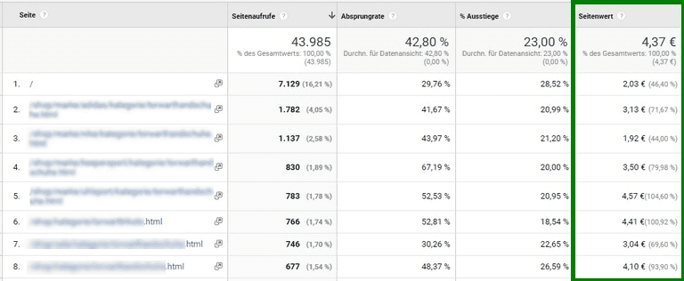 Marketingziele: Screenshot Google Analytics