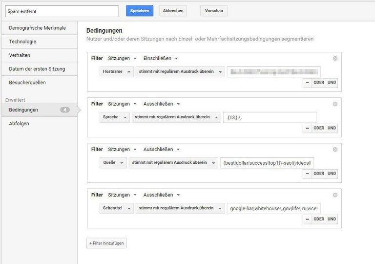 Bisherige Daten ohne Fake-Traffic nutzen: Filter in Segmente unterbringen