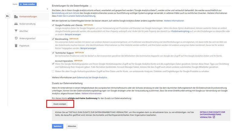 Datenauftragsverarbeitung mit Google Analytics