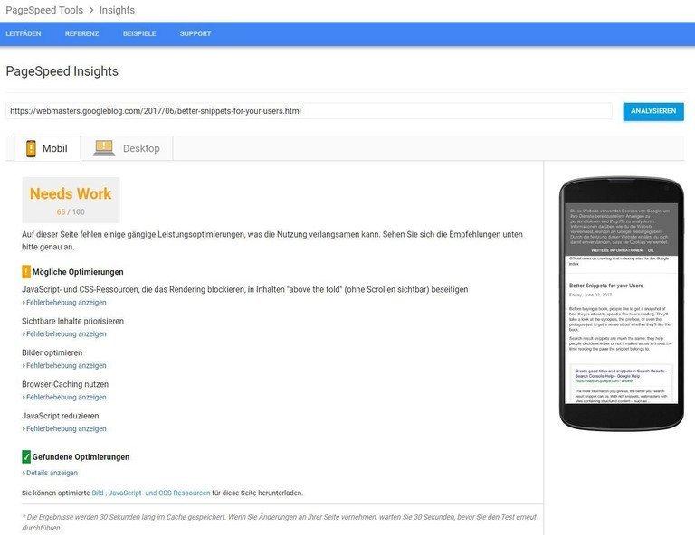 Webseiten-Ladegeschwindigkeit über Googles PageSpeed Insights optimieren