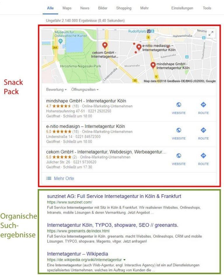 Snack Pack bei der lokalen Suche in den Google Suchergebnissen