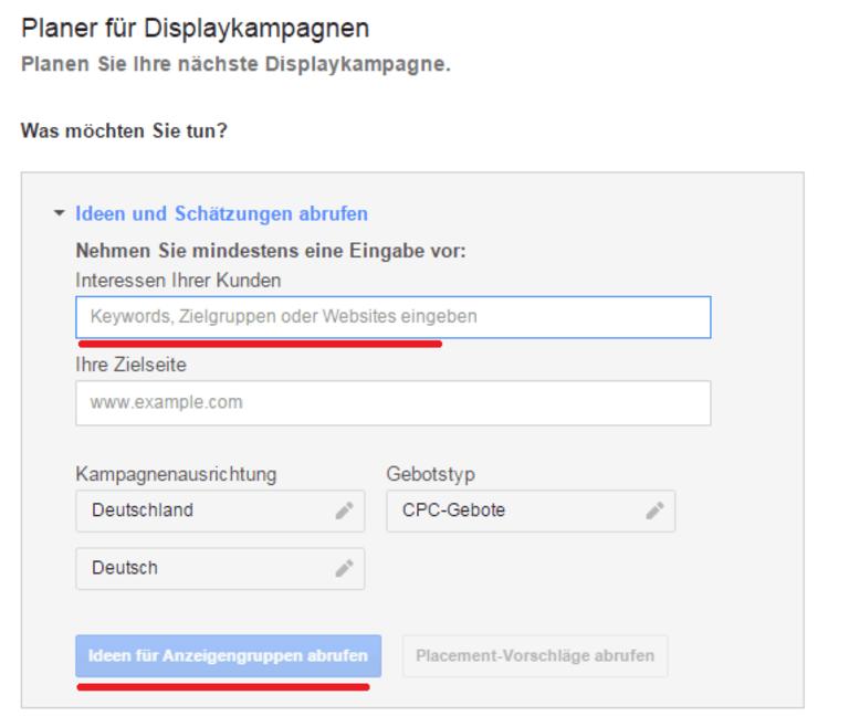 Planer für Displaykampagnen: Schritt 3