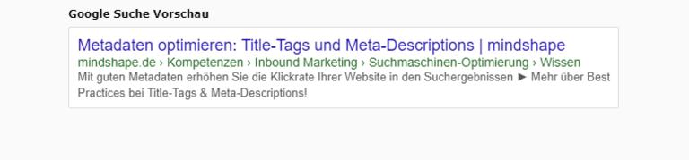 Beispiel für Title-Tag und Meta-Description