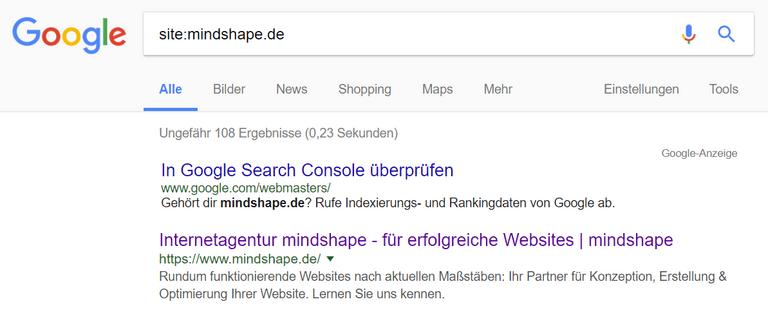 site-Abfrage von mindshape.de