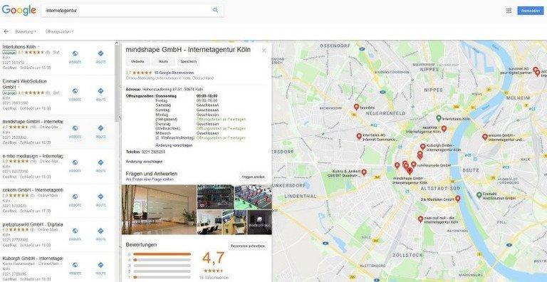 Knowledge Panel in der lokalen Suche, zeigt Öffnungszeiten an