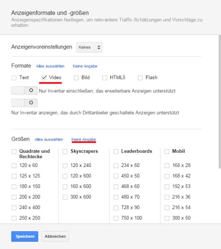 """""""Keine Ansicht"""": Schritt 6 bei YouTube Keyword-Analyse"""