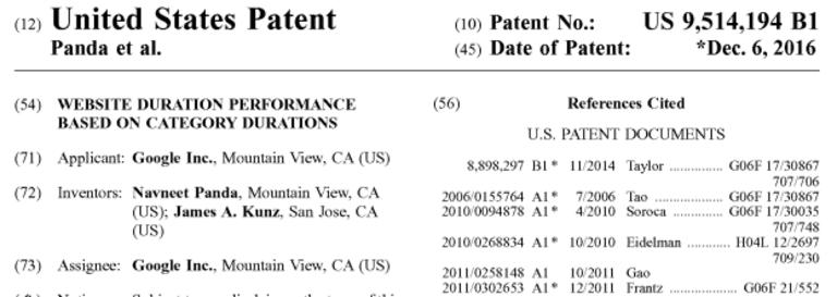Ausschnitt aus dem Google Patent zur Bewertung von Nutzersignalen.