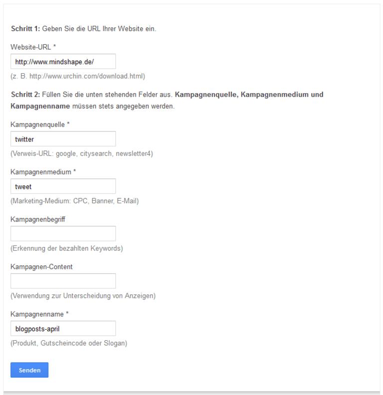 Erstellung von URLs mit UTM-Parametern