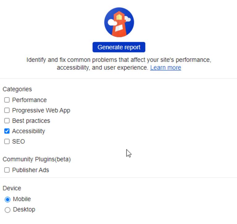 Screenshot Lighthouse als Audit-Möglichkeit für barrierefreie Website