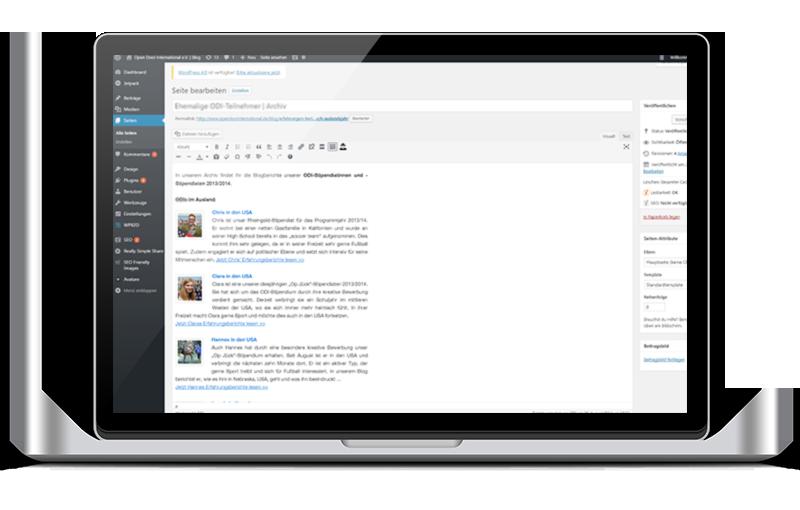 Wordpress Backend: Seite wird bearbeitet